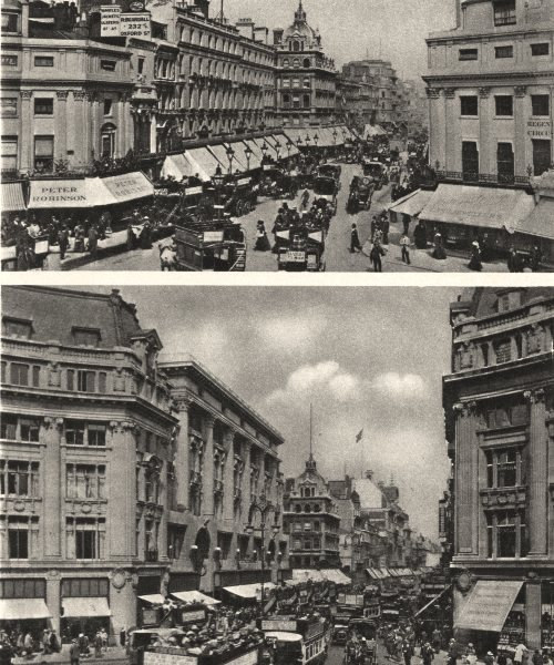 Associate Product OXFORD CIRCUS. Oxford Circus of Nash and the Regency & now 1926 old print