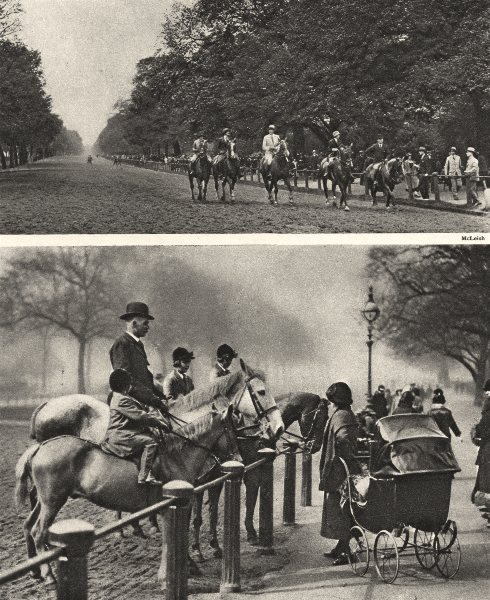 Associate Product ROTTEN ROW. Hyde Park where the Deer were once hunted. Horse riders. Pram 1926