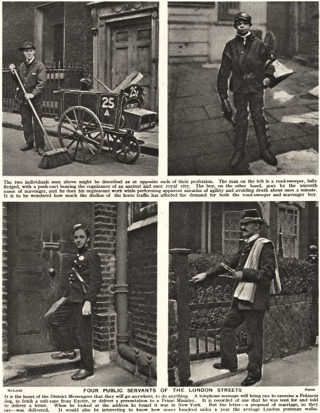 Associate Product LONDON. Public servants. Road-sweeper Scavenger District messenger Postman 1926