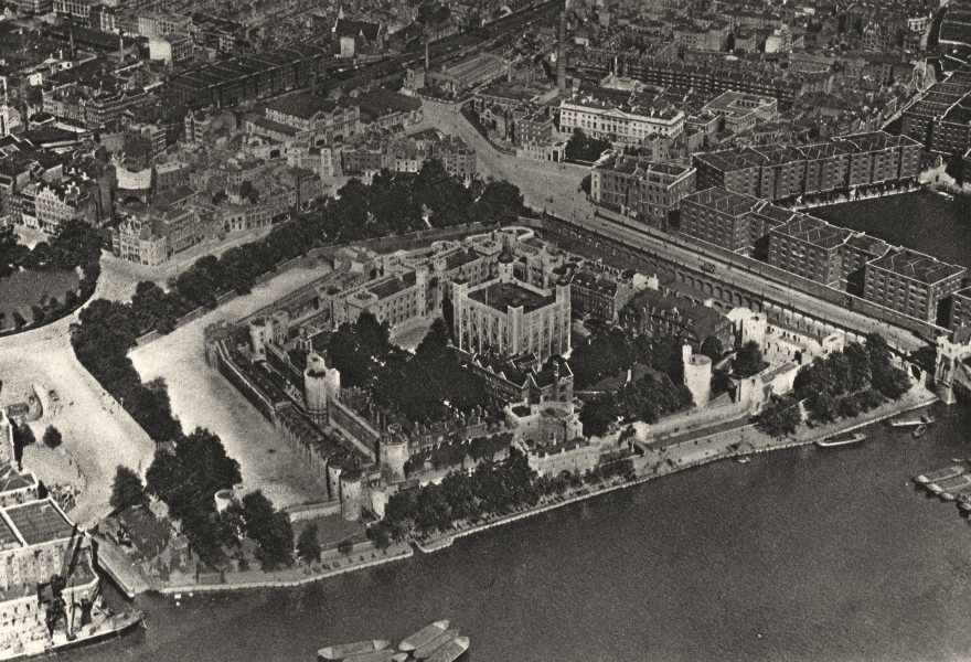 Associate Product TOWER OF LONDON. From the air. Unimagined by William the Conqueror 1926 print