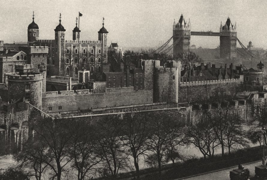 TOWER OF LONDON. Ramparts seen from Tower Hill warehouses. Tower Bridge 1926