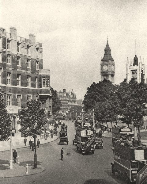 Associate Product LONDON. Traffic passing Westminster Abbey Big Ben 1926 old vintage print
