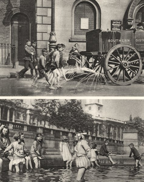 Associate Product LONDON. Children enjoying a heat wave in the East and West end 1926 old print