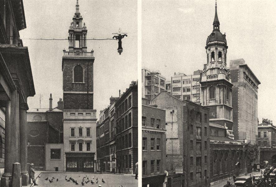 Associate Product LONDON. Wren churches. St. Stephen's, Walbrook. St Magnus The Martyr 1926