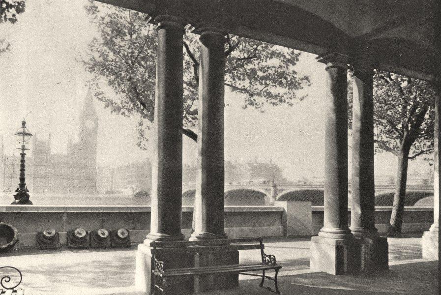 Associate Product LONDON. Westminster- Bridge & Big Ben from St. Thomas's Hospital 1926 print