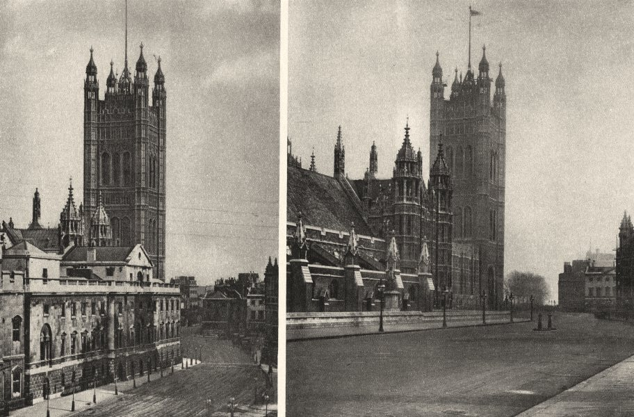 Associate Product LONDON. Old Law Courts at Westminster & site it appears to- day 1926 print