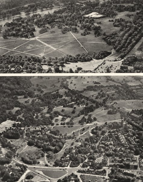 Associate Product LONDON. Hyde Park & Hampstead Heath from the air 1926 old vintage print