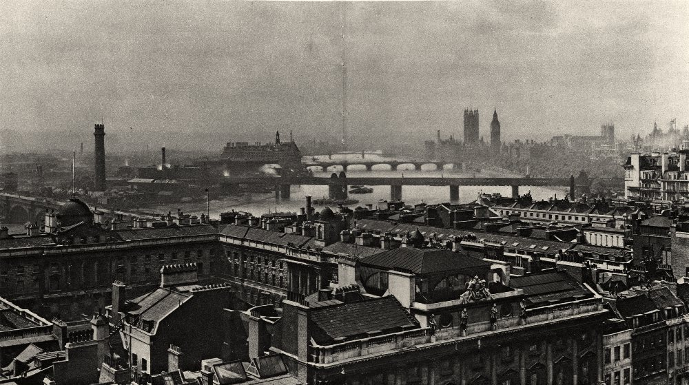 Associate Product LONDON. Panorama from Bush House; Somerset House, Houses of Parliament 1926