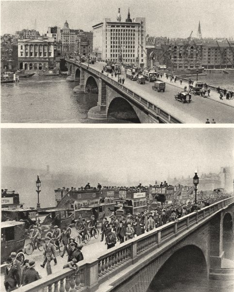 Associate Product LONDON BRIDGE. Sunday morning and Monday morning. Buses Cycles cars 1926 print