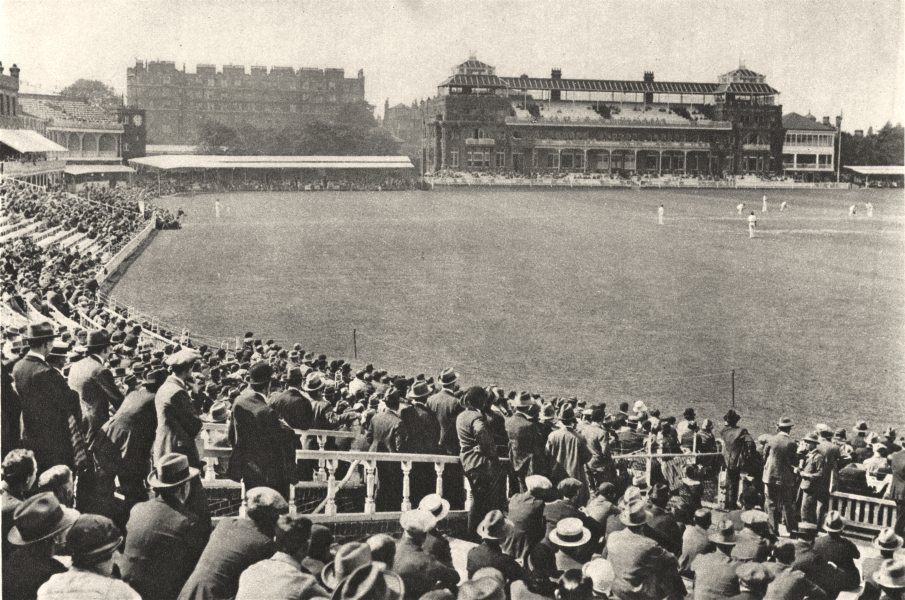 Associate Product LONDON. Towards Pavilion mound stand at World- famous Lords. Cricket match 1926