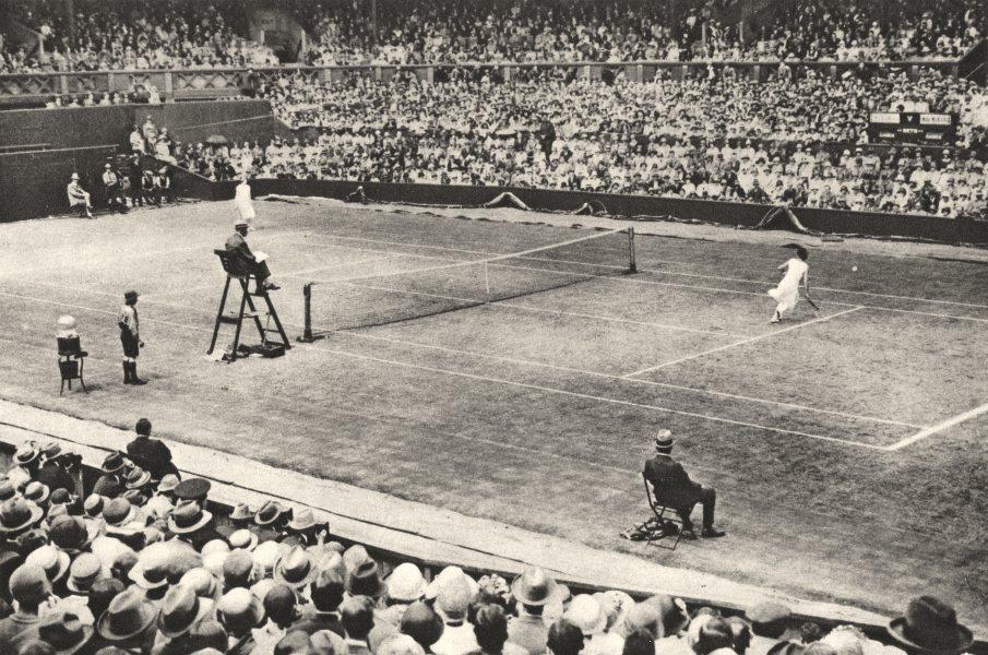 WIMBLEDON. Suzanne Lenglen & Miss Mckane at work famous courts Wimbledon 1926