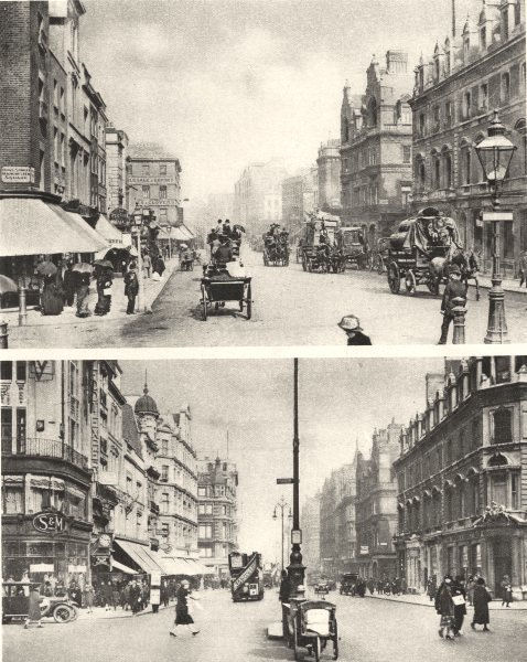 Associate Product LONDON. Oxford Street Duke Street crossing. 1880's & 1926 1926 old print