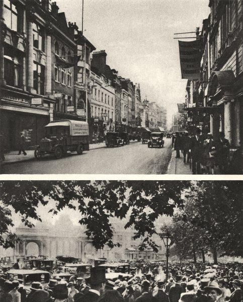 Associate Product LONDON. New Bond Street and Hyde Park on Ascot Sunday 1926 old vintage print