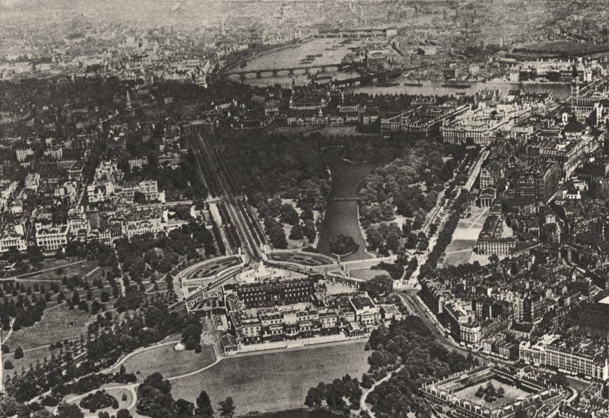Associate Product WESTMINSTER. Hyde Manor from a plane. Buckingham Palace St James's Park 1926