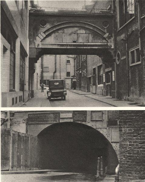 Associate Product LONDON. Adelphi. bridge over Durham House Street & archways 1926 old print