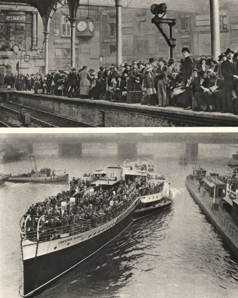 Associate Product LONDON. London crowds leave for Margate by train and paddle steamer 1926 print