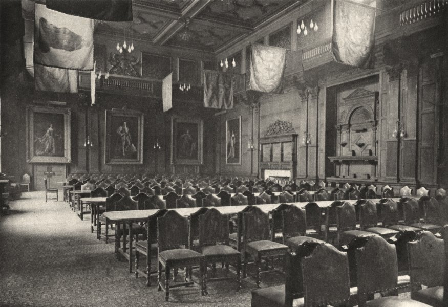 Associate Product LONDON. Flag- Hung great Hall powerful company of Grocers holds Banquets 1926