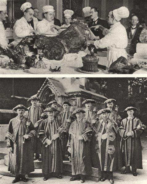 Associate Product LONDON. Busy Guildhall chefs & ward beadles of city with insignia office 1926