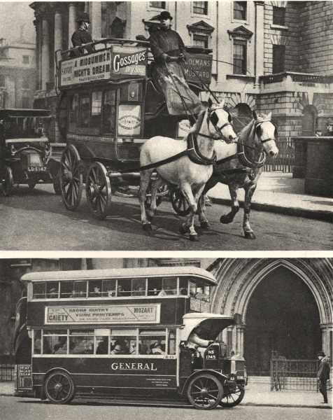 Associate Product LONDON. Early & stages development of ubiquitous omnibus Bus Horses 1926 print