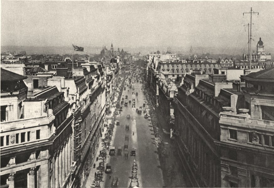 LONDON. From the roof of Bush House, Kingsway looking north 1926 old print
