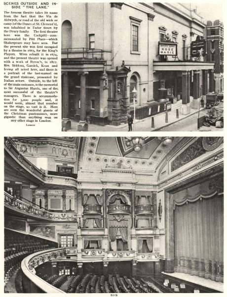 Associate Product LONDON. Scenes outside and inside The Drury Lane Theatre 1926 old print