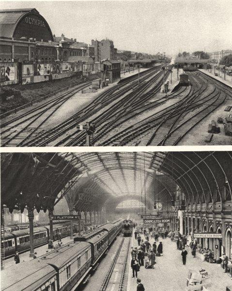 LONDON. Addison Road. Olympia. Paddington station. Trains 1926 old print
