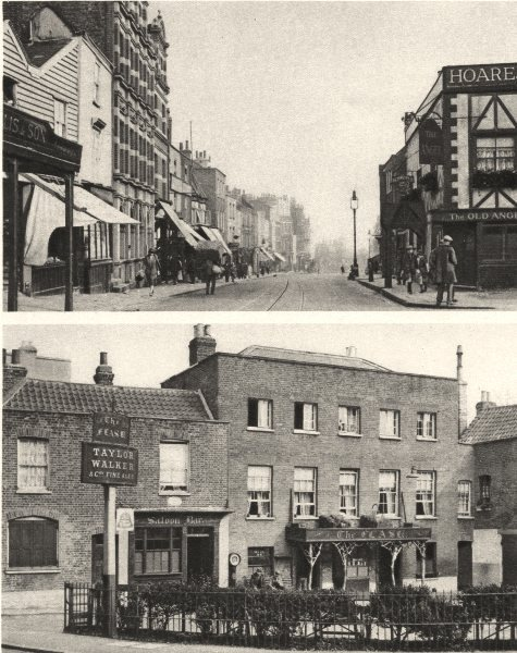 Associate Product LONDON. The steep high street and an old ale- house of Highgate village 1926