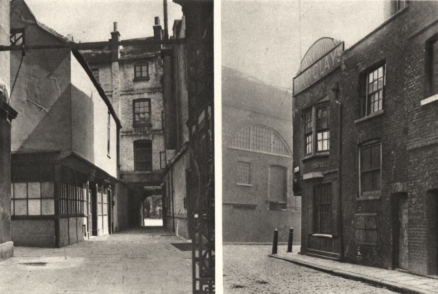 Associate Product LONDON. A court off Borough high street and the first house in Bankside 1926