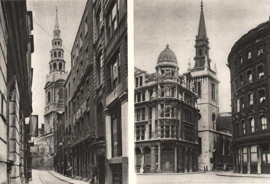 LONDON. Tower St. Bride's Bride Lane.St Augustine's Watling Street 1926 print