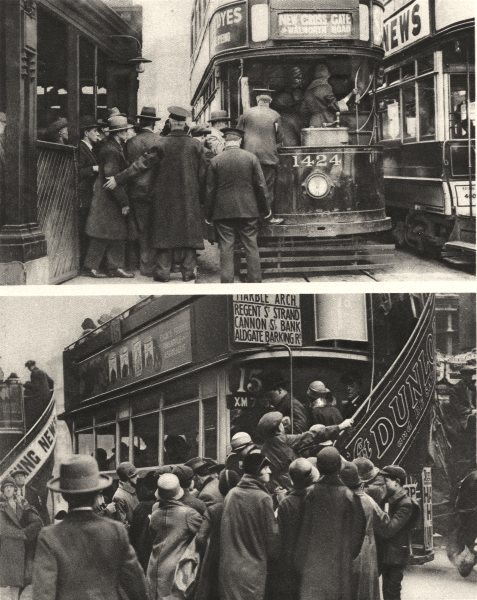 Associate Product LONDON. Herding passengers to tram at Blackfriars & bus Ludgate Hill 1926
