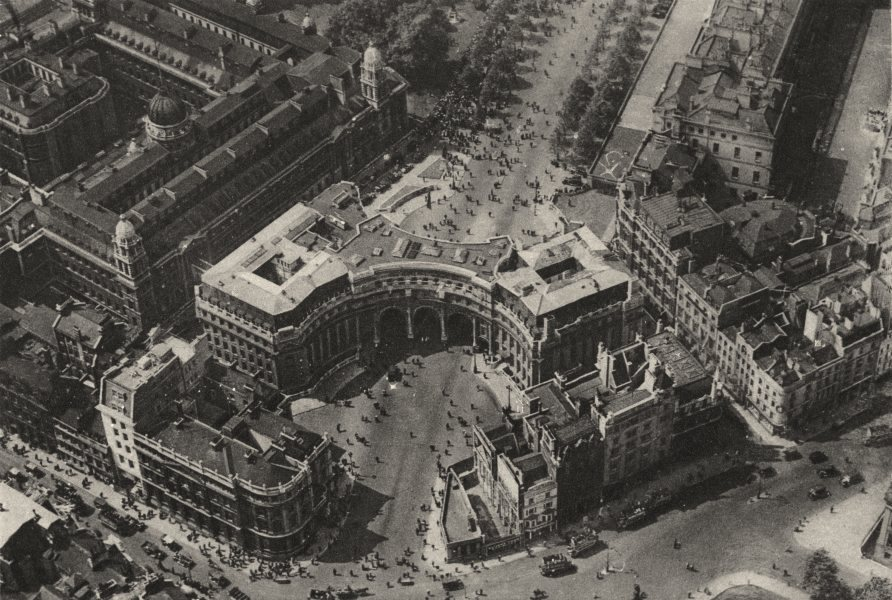 Associate Product LONDON. Admiralty Arch, The Mall, Trafalgar Square from the air 1926 old print