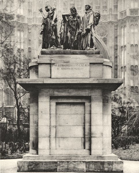 Associate Product LONDON. The Burghers of Calais in the Victoria tower gardens 1926 old print