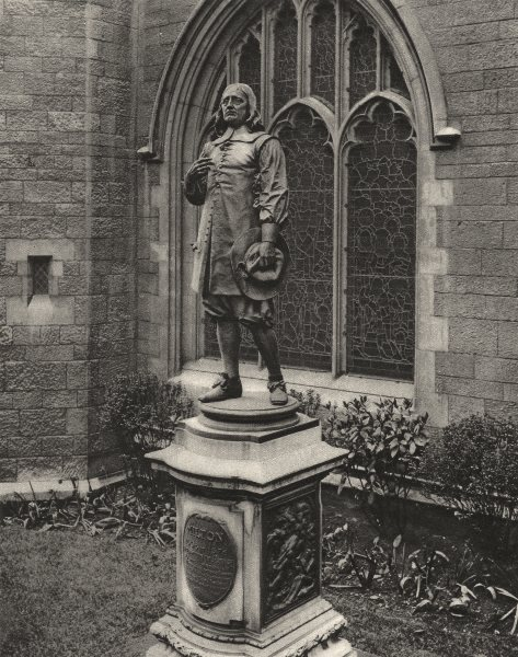 Associate Product LONDON. Milton's statue, St Giles Cripplegate 1926 old vintage print picture