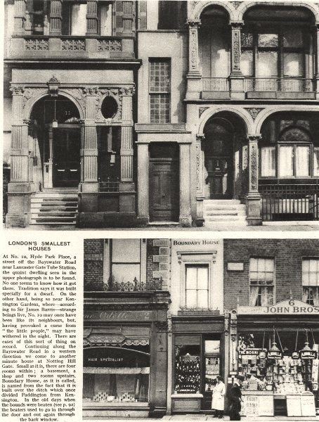 Associate Product LONDON'S SMALLEST HOUSES. 10 Hyde Park Place. Boundary House, Notting Hill 1926