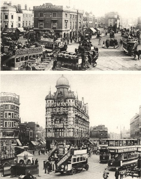 Associate Product ELEPHANT AND CASTLE. In the centuries of the Horse-Tram & Motor-bus 1926 print