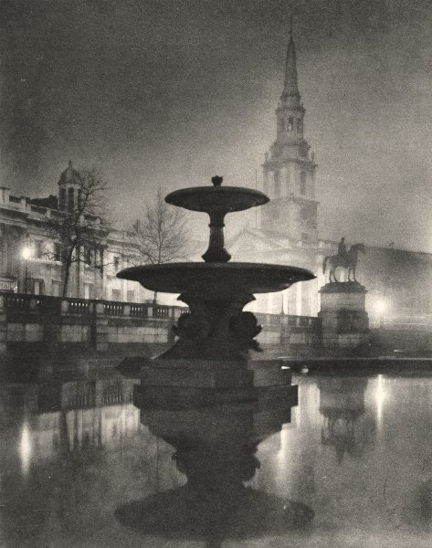 Associate Product TRAFALGAR SQUARE. Night rain has turned pavements to a pool of reflections 1926