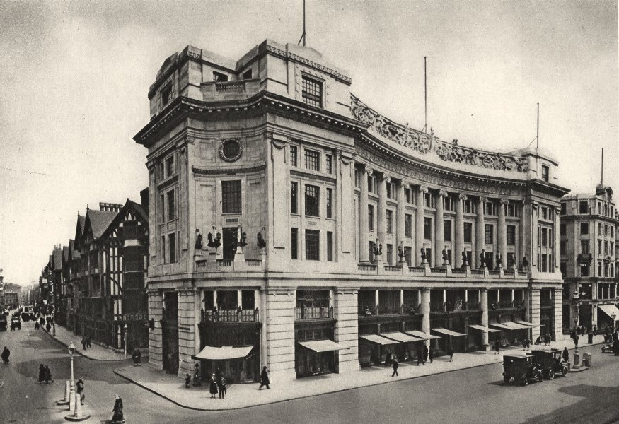 Associate Product LONDON. East India House, Liberty's frontage new Regent Street 1926 old print