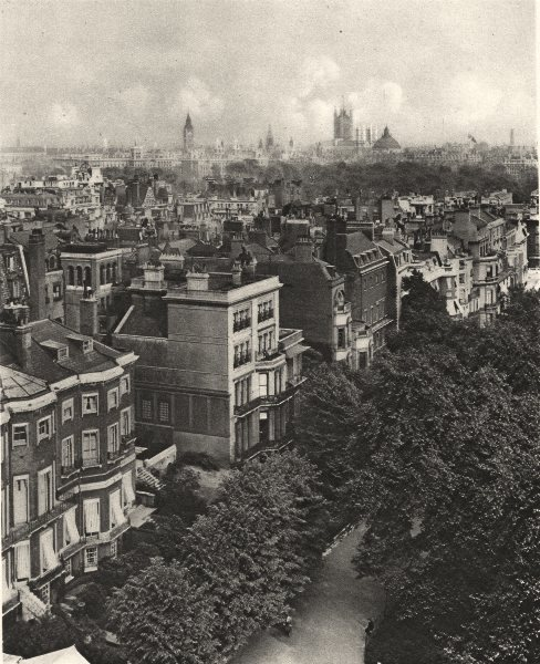 LONDON. Houses along Queen's Walk in the Green Park. Westminster 1926 print
