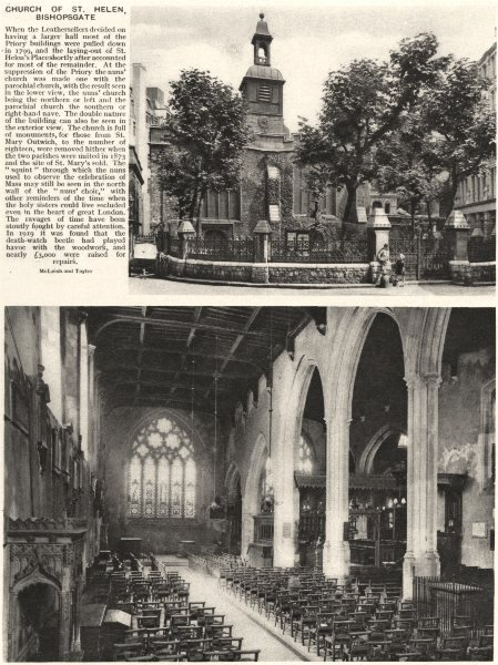 LONDON. Church of St. Helen, Bishopsgate 1926 old vintage print picture