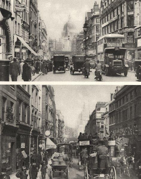 Associate Product LONDON. Fleet Street in 1880 and 1926 from opposite Salisbury court 1926 print