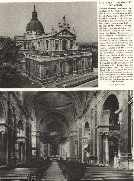 Associate Product LONDON. The great Oratory at Brompton 1926 old vintage print picture