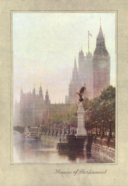 Associate Product LONDON. Houses of Parliament 1926 old vintage print picture