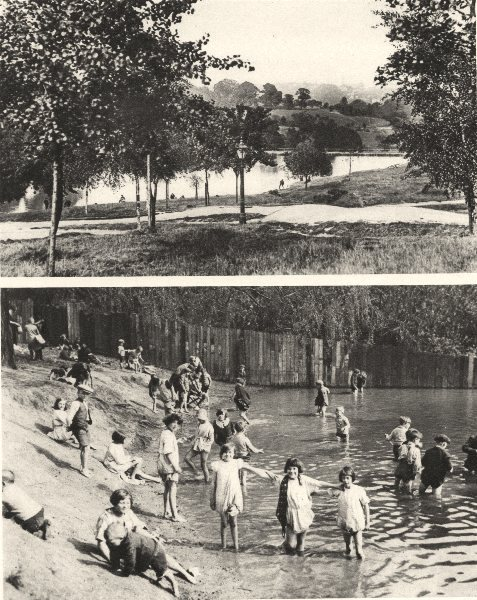 Associate Product LONDON. Two of Hampstead's many ponds where children play. Heath 1926 print