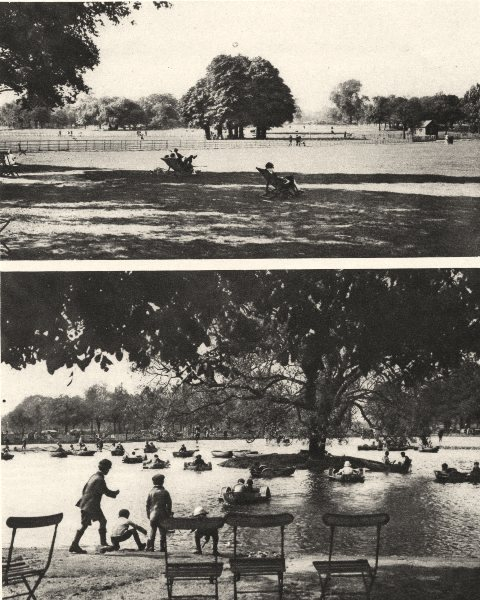 Associate Product LONDON. Clapham's Common. West side and boating pond 1926 old vintage print