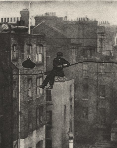 LONDON W1. Suspending a Telephone Cable between Conduit and Maddox streets 1926