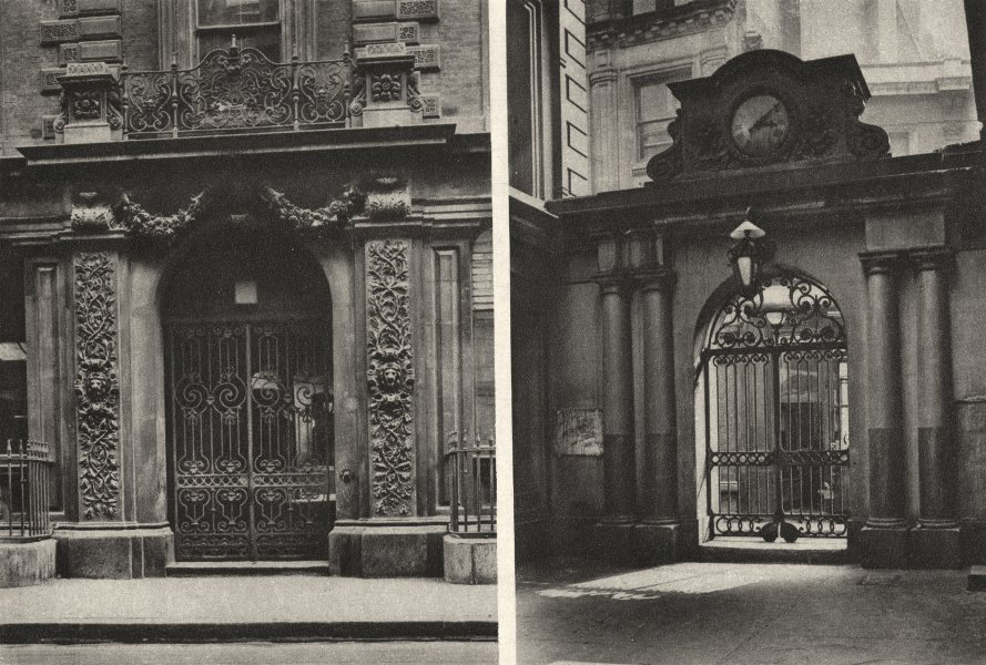 Associate Product LONDON. Gates to East India avenue now Demolished for the New Lloyd's 1926