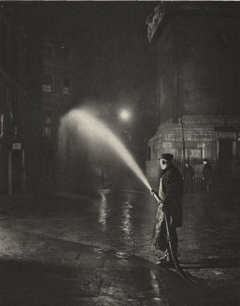 Associate Product LONDON. London's Nightly cleansing. Scene at the base of the Monument 1926