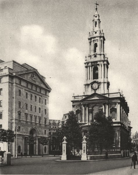 Associate Product LONDON. St. Mary-le-Strand, distinguished by modern street widening 1926 print