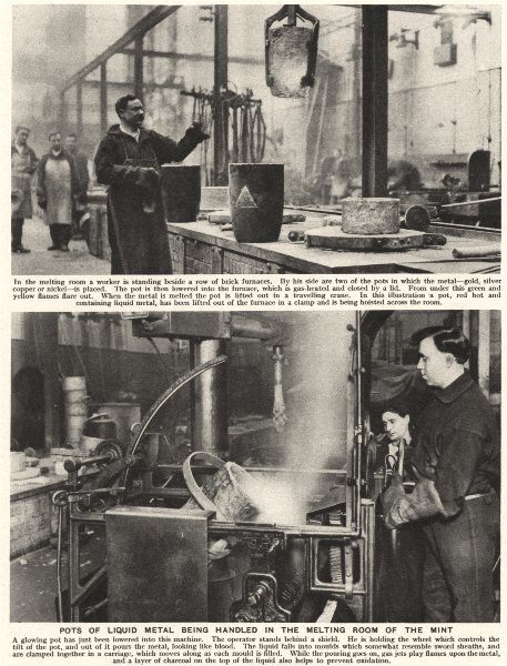 Associate Product LONDON. Pots of liquid metal being handled in the melting room of the Mint 1926