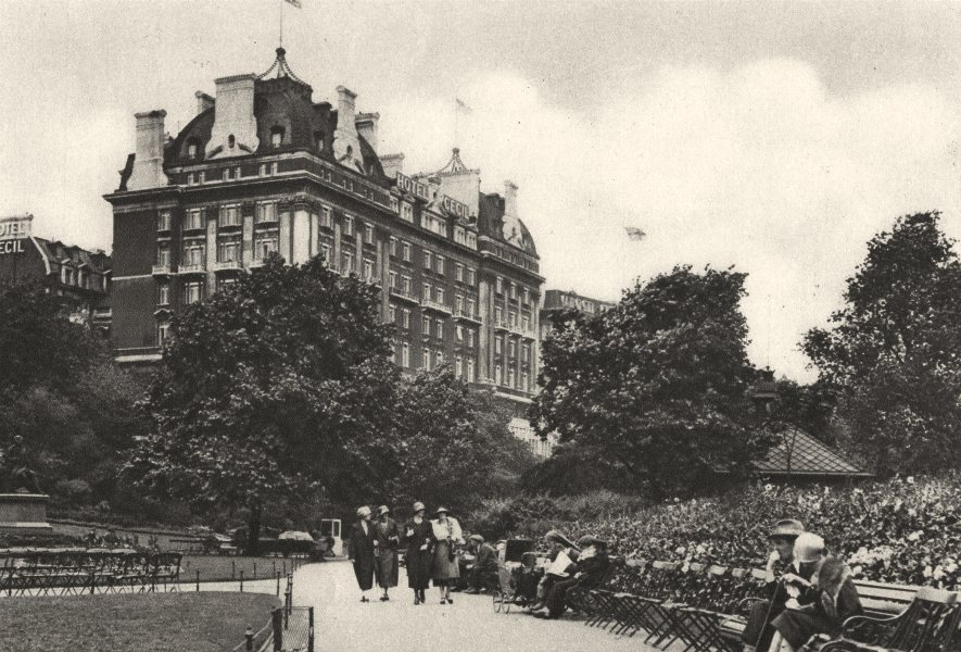 Associate Product LONDON. Villiers street Victoria garden & Cecil Hotel 1926 old vintage print